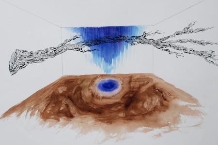 Argentina, Juan Doffo Extraña supresión de la distancia, 2014 Instalación, pintura, tierra y pigmentos  medidas variables