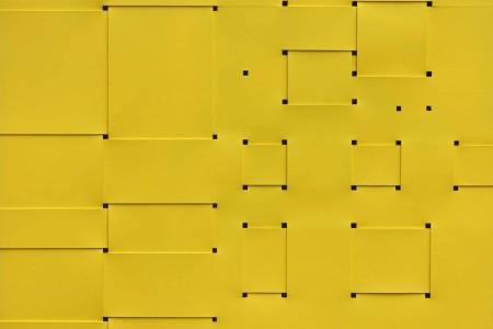 Armando Marrocco, Intreccio di situazioni (dalla divina proporzione), 1968. Smalto giallo acrilico su cartone, 80x100,5 cm. Courtesy Galleria Antonio Battaglia - Il Castello Contemporary. Sezione: Main
