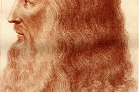 Ritratto di Leonardo, antica incisione dal disegno della Royal Library di Windsor.  © Museo Ideale Leonardo Da Vinci, riproduzione autorizzata per la comunicazione del Carro-Teatro dell'Universo di Leonardo/Fondazione Carnevale di Viareggio